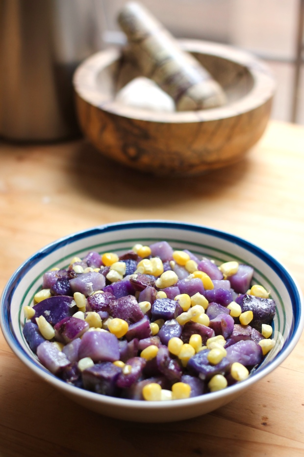 blue potato and sweet corn hash