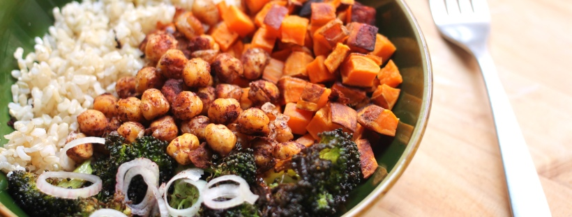 roasted broccoli sweet potato cinnamon chickpea bowl