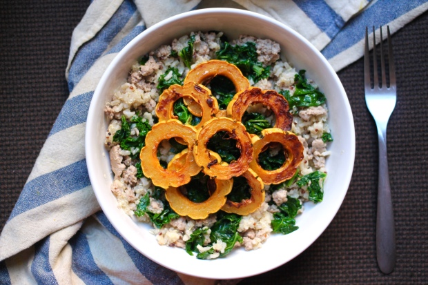 turkey kale delicata squash bowl