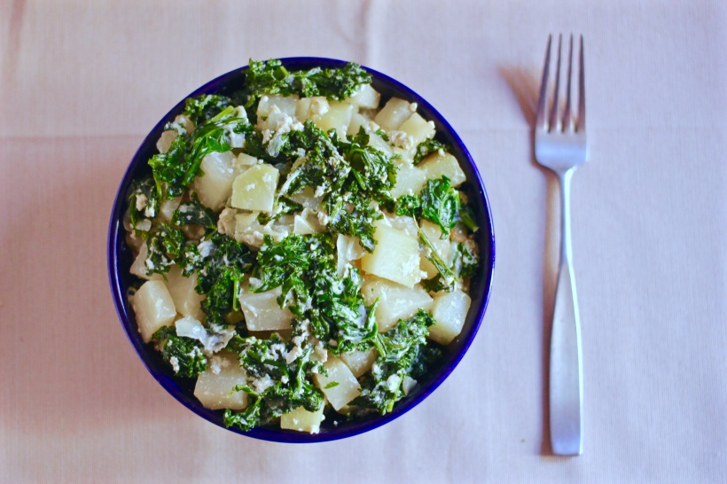 Sautéed Kohlrabi & Kale with Tangy Yogurt Sauce