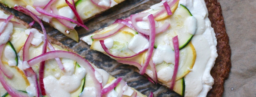 summer squash red onion pizza califlour foods