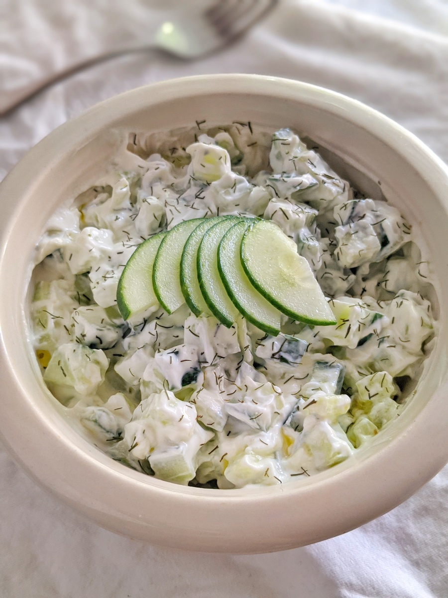 Cold Cucumber Salad for One